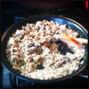 Making the duxelles.  A food processor helps with this!