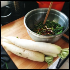 Daikon and green onion!