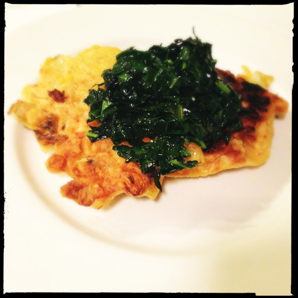 Kimchijeon with sauteed garlicy kale on top!
