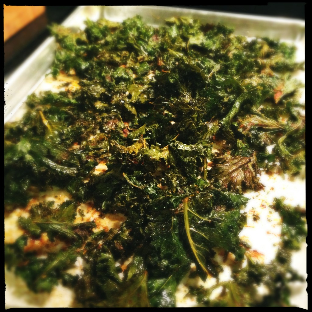 Smoked paprika kale chips.  This photo doesn't really do these beauties justice.